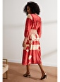 Setre Zümrüt-Bej Gipeli Midi Boy Balon Kol Desenli Elbise Kırmızı